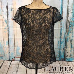 Lauren Ralph Lauren Black Sheer Top